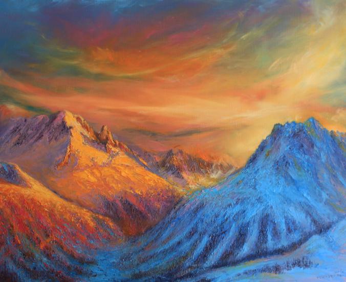 couché de soleil sur la vallée de chamonix et les aiguilles rouges lightbox