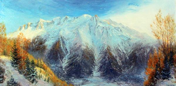 La chaîne du Mont Blanc depuis les Aiguilles Rouges automne 2019 80cm x 40cm