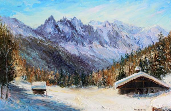 Chalets au col des Montets Chamonix 33cm x 22cm