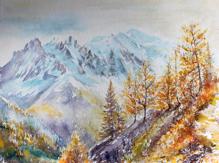 aquarelles de montagne, aquarelles chamonix, aquarelles la chaîne du mont blanc, philippe fescourt