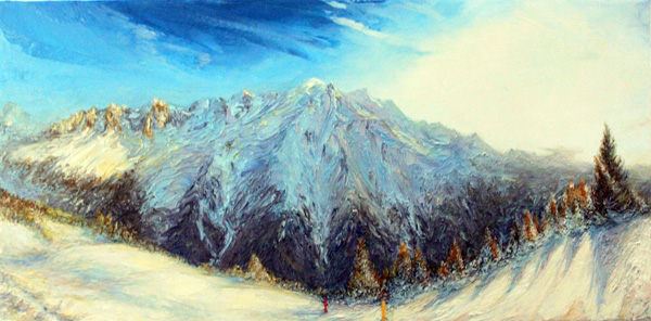 La chaîne du Mont Blanc hiver 2019 60cm x 30cm