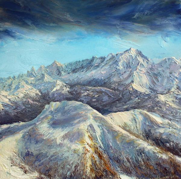 Le Mont Blanc depuis le col de Balme Aravis Format 40cm x40cm