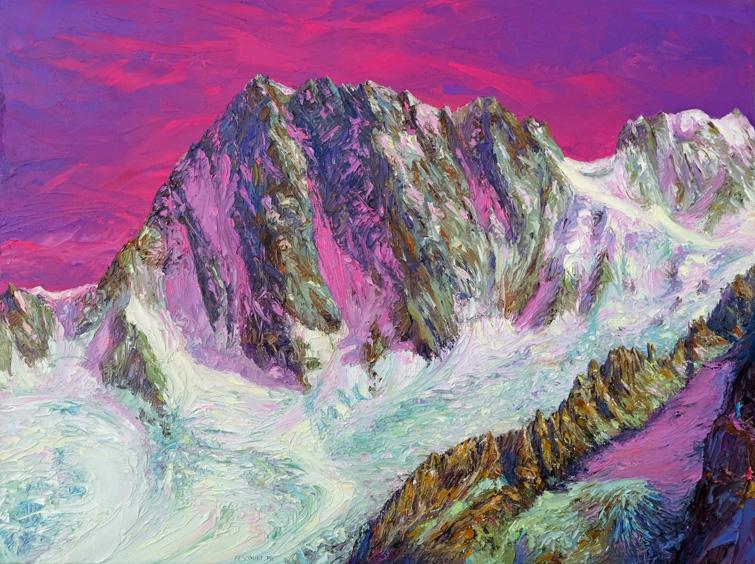 peinture à l`huile,au couteau,paysage de montagne,chamonix,les grandes jorasses,fescourt philippe, oil painting,mountain landscape