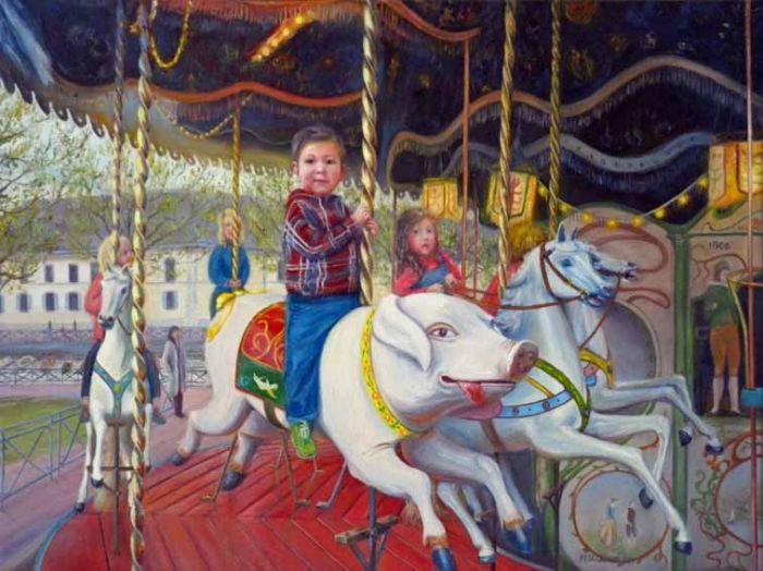 portrait, peinture à l`huile, philippe fescourt